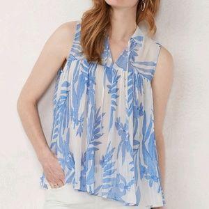 Top Lauren Conrad tropical Blue floral